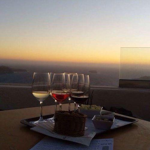 Sunset Santorini, Greece Wine Tasting