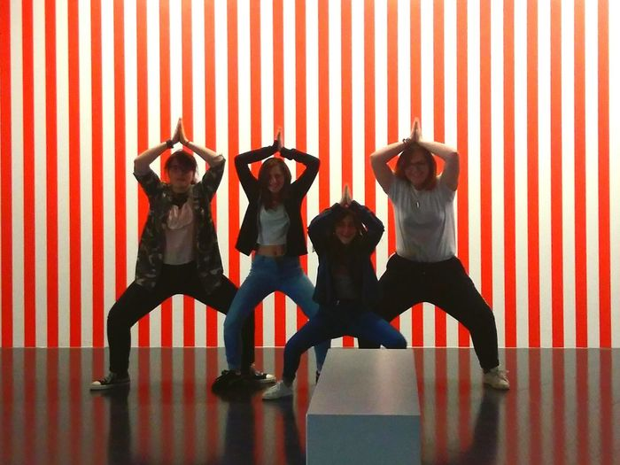 copinous 💛 Copinous Love Friends Red White Stripes Backgrounds Background Four Five Lotus Position Pompidou Museum Museum Of Modern Art Notparis Metz Metz, France Happy Best  Bestpeople EyeEm Selects Young Women Friendship Togetherness Women Curtain Fun Striped Arms Raised First Eyeem Photo