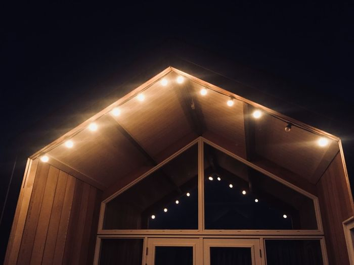 Night Illuminated Architecture Built Structure Low Angle View No People Lighting Equipment Sky Building Exterior Nature Clear Sky Outdoors Copy Space Building Light Pattern Light - Natural Phenomenon Christmas Shape
