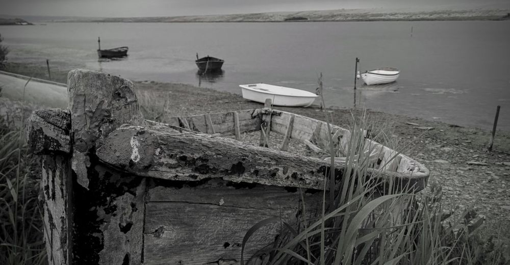 Boat Chesil Beach Day Dore Lagoon Nature No People Outdoors Reflection Skeleton Sky Structure Unseaworthy