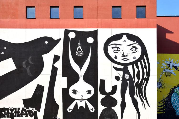 Monochrome Art Street Art Wall Façade Building Exterior Outdoors City Urban Minsk Belarus Eastern Europe Europe