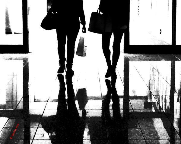 Low Section City Men Silhouette Walking