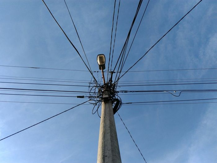 Low Angle View Of Street Light With Cables
