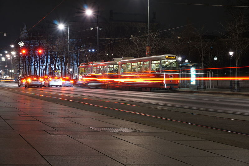 Vienna Blurred Motion Long Exposure Public Transportation Ringstrasse Street Light Wien
