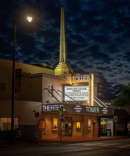 Theater Tower in little Havana district Miami Architecture Built Structure Night Building Exterior Cloud - Sky City Information Street No People Dusk Dawn Miami Little Havana Theater Theater Tower Florida Art Deco Art Deco Architecture Illuminated Streetphotography Street Light
