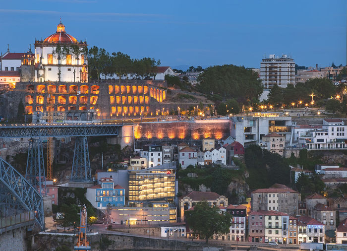 The monastery of serra do pilar overlooking the duoro river in porto, portugal