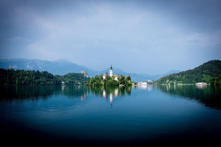 Lake Bled Church Water Reflection Sky Tree Lake Plant Nature Beauty In Nature Scenics - Nature Architecture Travel Destinations Outdoors