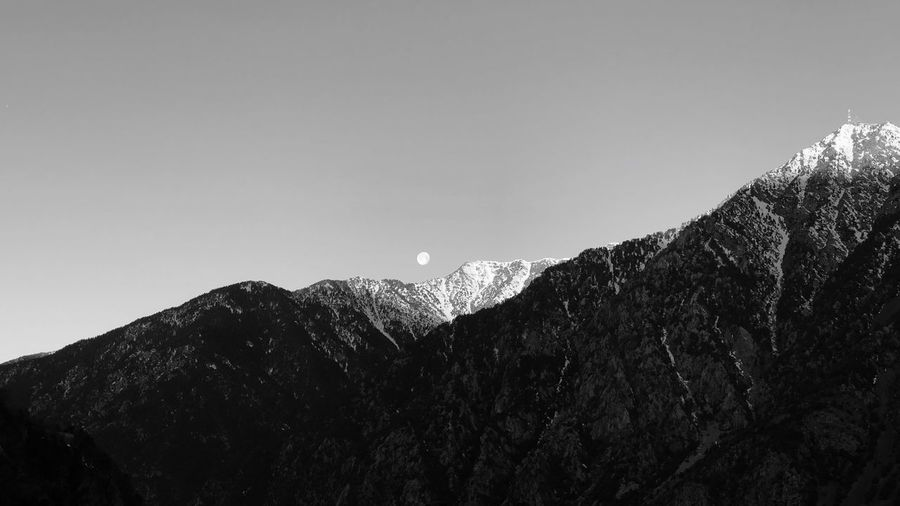 Andorra🇦🇩 Andorra Escaldes Moon Black & White Black And White Blackandwhite Sky Mountain Scenics - Nature Nature Beauty In Nature Tranquility Copy Space Tranquil Scene No People Clear Sky Day Outdoors Low Angle View Mountain Range Non-urban Scene Winter Environment Snow