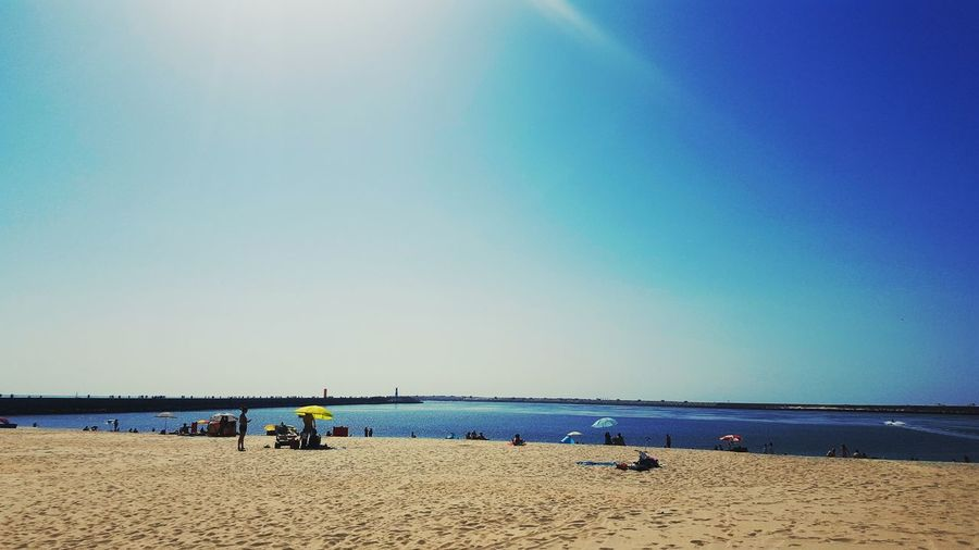 Beach Sand Sea Horizon Over Water Blue Sky Nature Summer People Day Water Beauty In Nature Outdoors Clear Sky People Sunday Day Fun Walk Samsung Galaxy S6 Edge PhonePhotography Phonecamera Low Angle View Aveiro Portugal