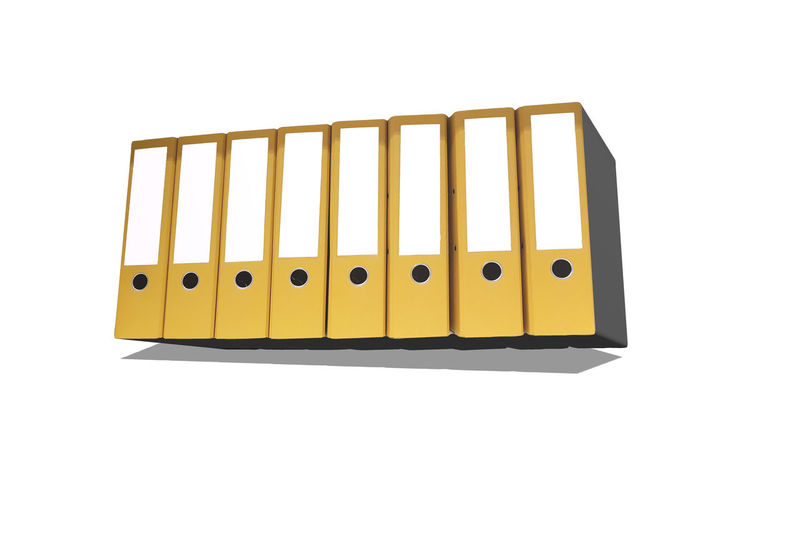 Eight yellow file folders in 3D with copy space in a row Arrangement Close-up Communication Connection Copy Space Cut Out Equipment Indoors  Metal No People Office Side By Side Single Object Still Life Studio Shot Technology Text Western Script White Background Yellow