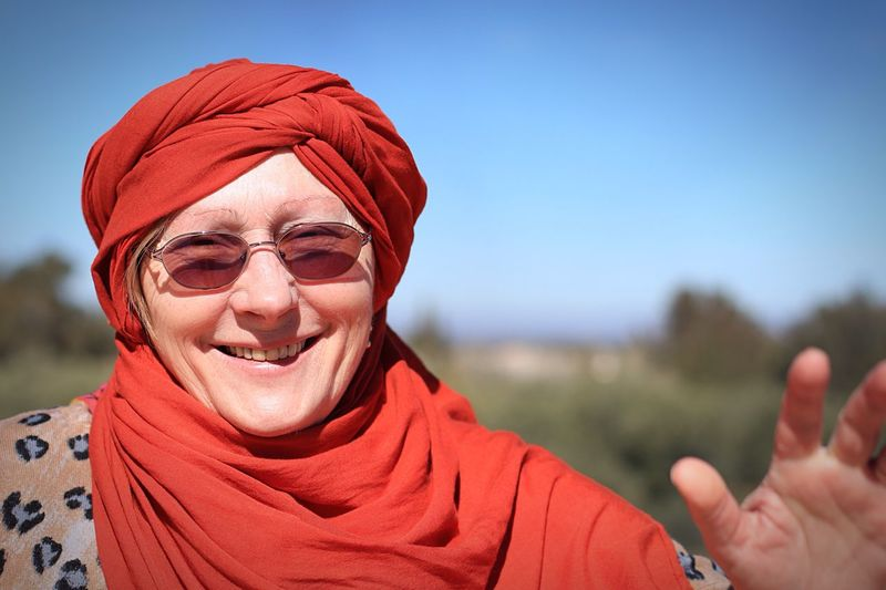 Close-Up Portrait Of A Woman Wearing Headscarf