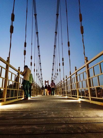 Sudama Setu Bridge Photography Suspension Bridge Evening Sky Dwaraka