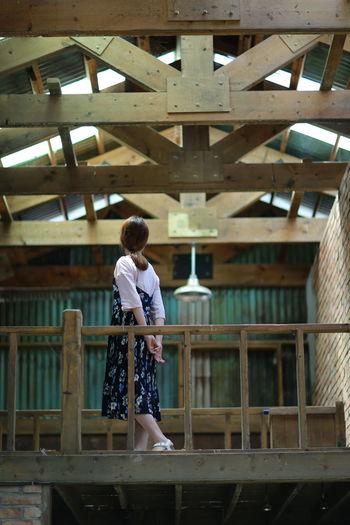 Woman walking in balcony