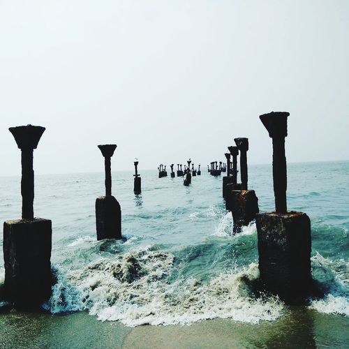 Sea Water Beach Horizon Over Water Outdoors No People Wooden Post Beauty In Nature Day EyeEmNewHere An Eye For Travel