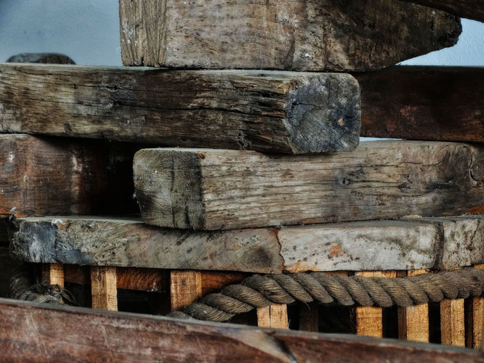 Wood pile. Wood - Material No People Day Close-up Textured  Pattern Architecture Outdoors Wood Built Structure Full Frame Old Backgrounds Still Life Log Solid Timber Metal Design Wooden Wood Pile