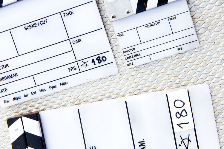 behind the scene, close up of Film Slate on set Advertising Behind The Scene Film Equipment Filming MOVIE Studio Broadcast Broadcasting Cinema Clapper Board Clapperboard Close-up Film Industry Film Slate Photography Slate Studio Shot