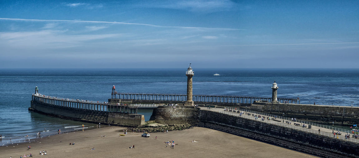 Whitby harbour. North east coast of England. Panorama Panoramic Pier Summertime Whiyby V Yorkshire Architecture Built Structure Cloud - Sky Day Horizon Horizon Over Water Nature Northyorkshire Ocean Piers Scenics - Nature Sea Seascape Seaside Sky Summer Tourism Travel Destinations Water