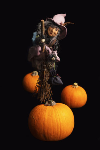 Pumpkin Studio Shot Halloween Indoors  Orange Color Vegetable Still Life Freshness Celebration No People Black Background Close-up Holiday - Event Autumn Nature Wellbeing Dark Witch