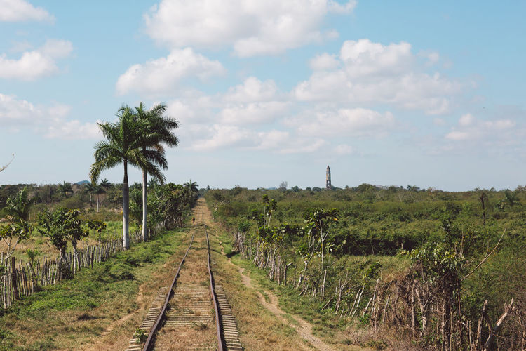 Panoramic view of railroad tracks on field against sky