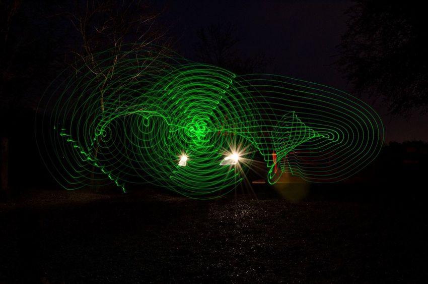 Motion Illuminated Night Swirl Outdoors Long Exposure