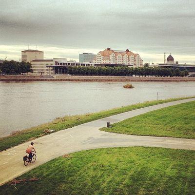 Dresden Saxony Elbe Ufer riverside bike fahrrad einsamkeit silence wetter