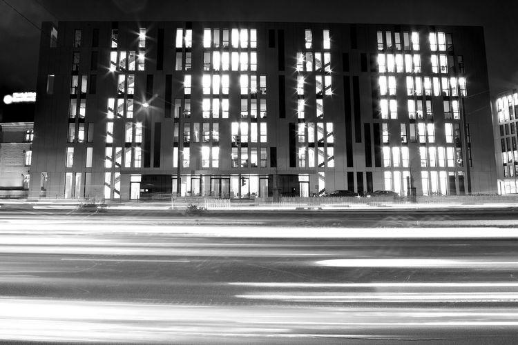 A street scene on a croudy street in Düsseldorf. Architecture Blackandwhite Built Structure City City Life Day Illuminated Indoors  Long Exposure No People Transportation FUJIFILM X-T2 Fujifilm_xseries The Week On Eyem