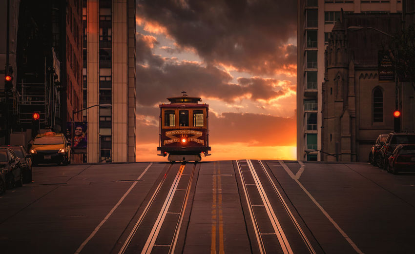 Cable car on top of the hill, San Francisco sunset Mood Moody Sky Warm City Cars Buildings California Street Travel Destinations Tourism Sunset Sunrise Street Streetphotography No People Transportation Cable Car California San Francisco Sanfrancisco
