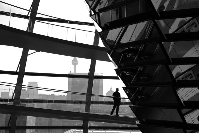Berlin Berlin Photography Berlin, Germany  Black & White TV Tower Architecture Black And White Blackandwhite Blackandwhite Photography Building Exterior Built Structure City Discover Berlin Germany Indoors  Lifestyles Men Modern People Real People Reichstag Window