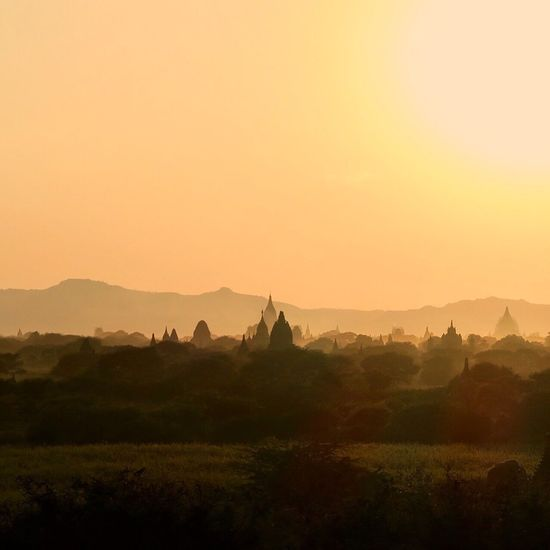 Pagoda Sunset Nature Beauty In Nature Scenics Landscape Tranquil Scene Architecture Idyllic Tranquility Sky Cultures Pagodas Silhouettes Layers Layering Bagan Burma