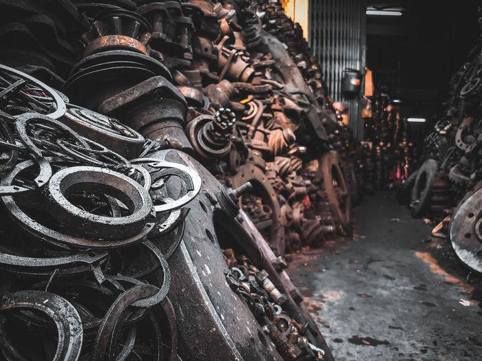 Close-up of old metal stack in junkyard