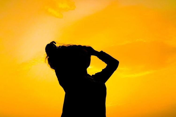 Women Photography Travel Love Canon VSCO Clouds Liveforlove Respect Photographer Turkish Model Turkey Sunset Sunset Silhouettes Sunset Yellow Yellow Background Silhouette Standing Human Hand Waist Up Sky Hand Raised Human Arm Human Back Heart Shape