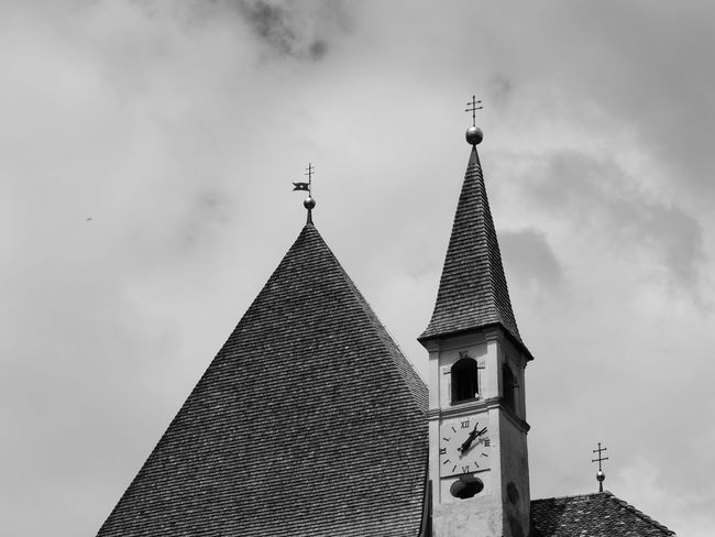 Architecture Bell Tower Building Exterior Built Structure Cross Day Eremo Di San Romedio Low Angle View No People Outdoors Place Of Worship Religion Sky Spirituality