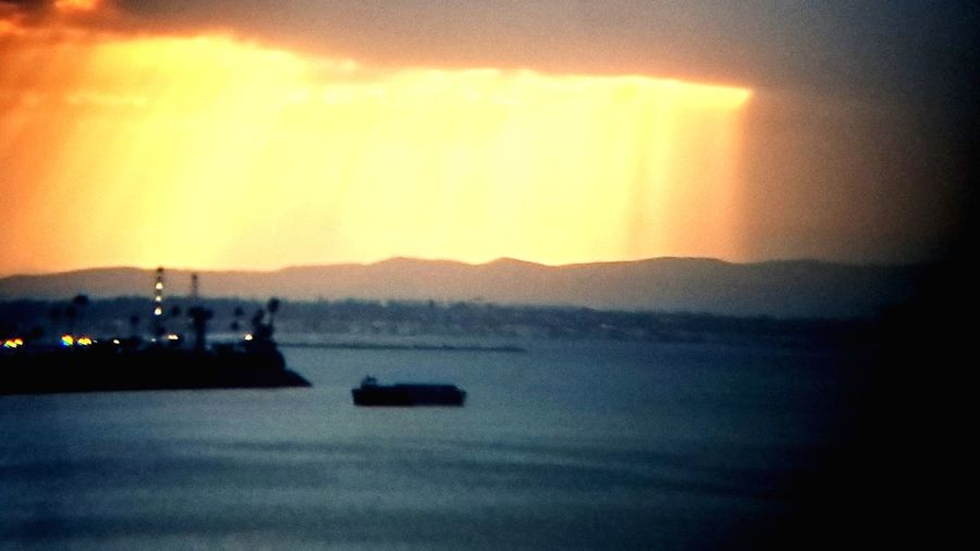 Illuminated Night Nautical Vessel Nature Outdoors Freight Transportation Sunshine Bright Pretty Glare Fire Light Clouds BIRDS