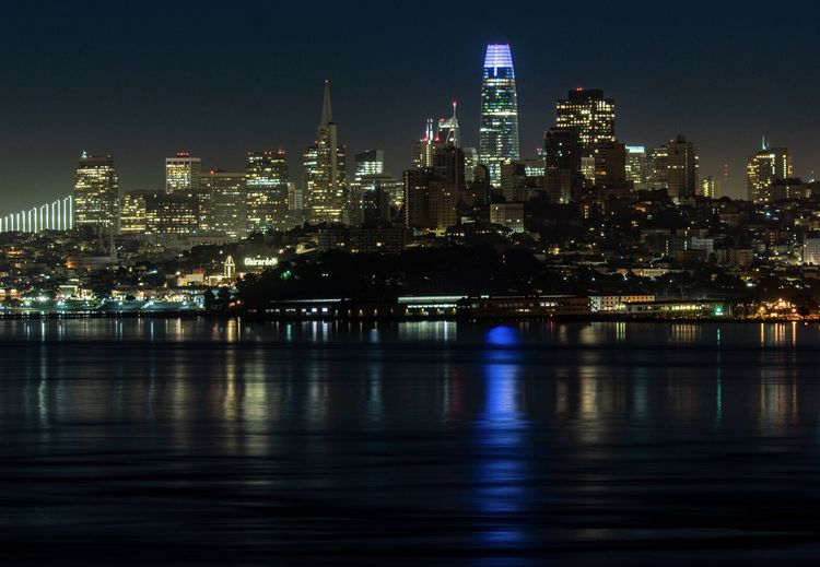 San francisco skyline at night long shutter