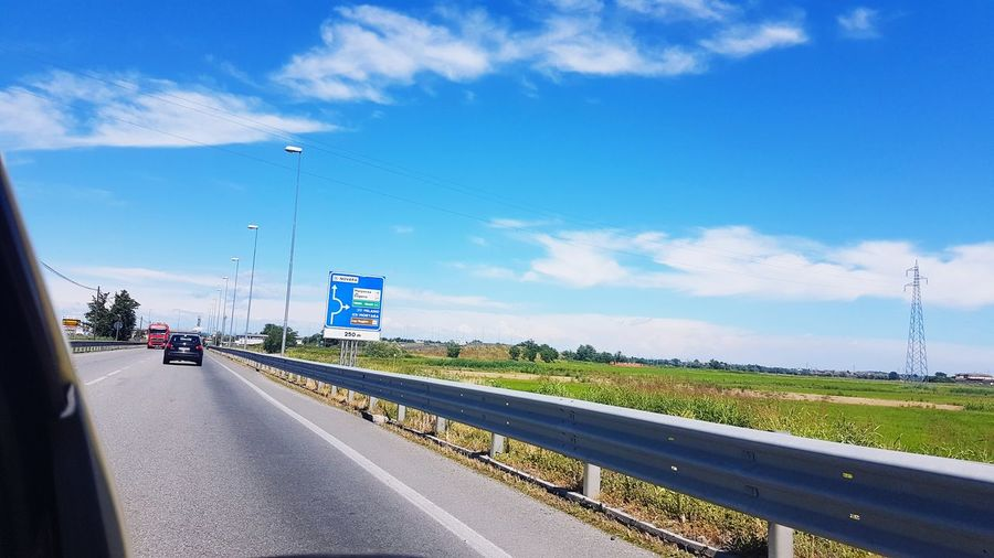City Road Blue Rural Scene Freight Transportation Highway Sky Cloud - Sky Travel Car Point Of View Car Interior Side-view Mirror Vehicle Interior Passenger Seat Railroad Track Moving
