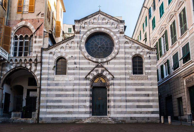 """The facade of the small church of """"San Matteo"""" (XII century), in the downtown of Genoa Architecture Church Downtown Façade Genoa Genova Gothic Architecture Building Exterior Built Structure Italy Liguria Medieval Medieval Architecture No People Outdoors Place Of Worship Religion Romanesque Saint Matthew's Church San Matteo Tourism"""