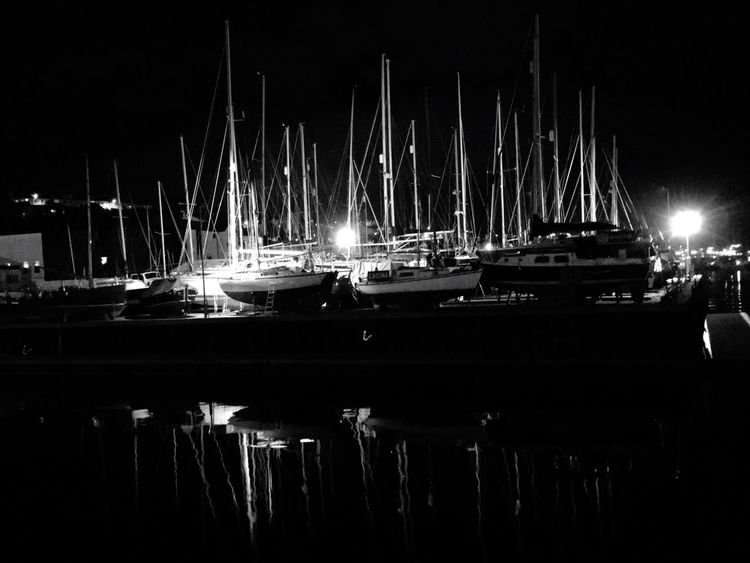 Nautical Vessel Night Illuminated Outdoors Transportation No People Yacht Mode Of Transport Moored Sailboat Mast Sea Water Harbor Sky Close-up Black Blackandwhite Black And White Black & White EyeEm Best Shots EyeEmBestPics