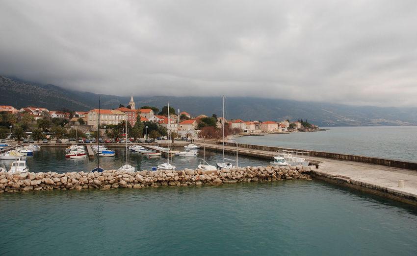 Orebic Croatia with marina Coastline Coastline Landscape Croatia Landmark Marina Nature Orebic Scenics TOWNSCAPE
