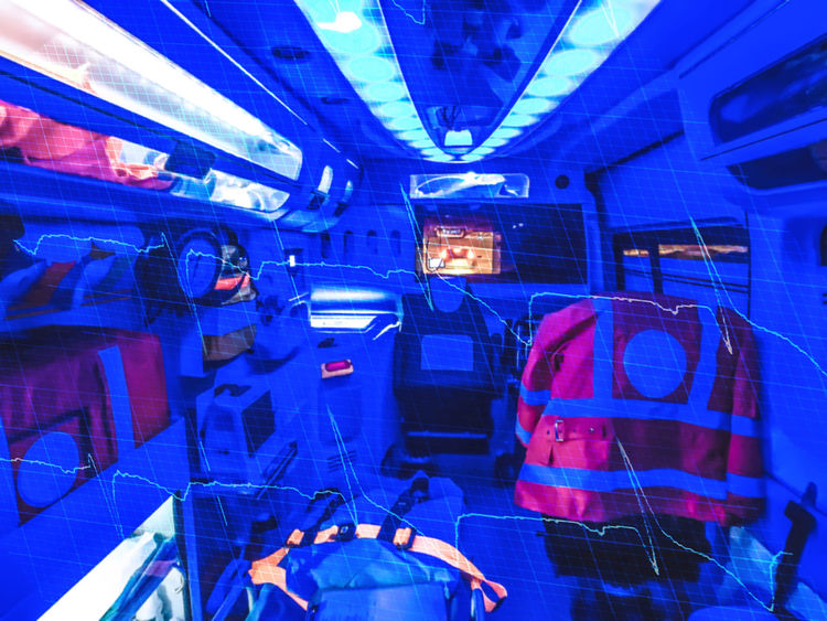 Double exposure of an ambulance and ECG by night. Out of focus. Ambulance Ambulance Lights Defibrillator Doctor  ECG Emergency Emergency Vehicle EMS Flashlight Graph Heart Heart Attack Hospital Illness Injury Night Nurse Radio Red Cross Rescue Stretch Trauma Urgency Victim