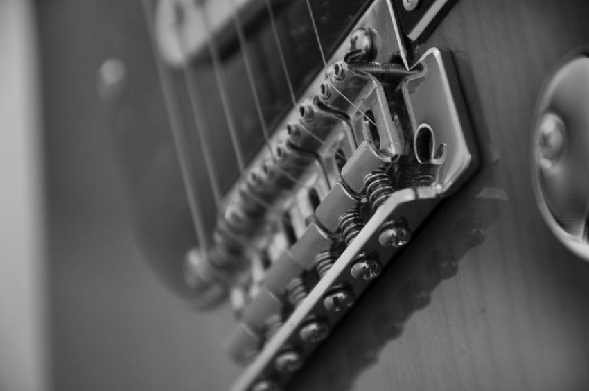 Guitar Audio Audio Equipment Knobs And Dials Music Pickups Recording Session Reflection Screws Textured  Abstract Black And White Blackandwhite Close-up Focus On Foreground Guitar Guitarist Knobs Recording Recording Studio Sound Recording Equipment String Instrument Strings Studio Equipment Studio Shot Wood - Material