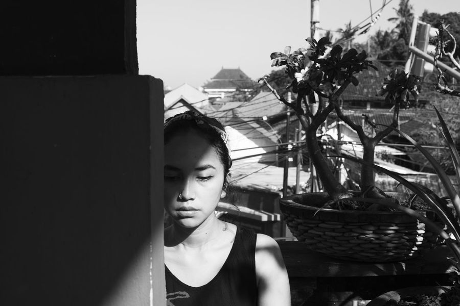 making moody portraits with putri in ubud bali Bali City Life Copy Space INDONESIA Sitting Asian Girl Beautiful Woman Black And White Close-up Contemplative Day Leisure Activity Lifestyles Light And Shadow Millennials Monochrome Moody Portrait One Person Outdoors Real People Wondering Young Adult Young Women