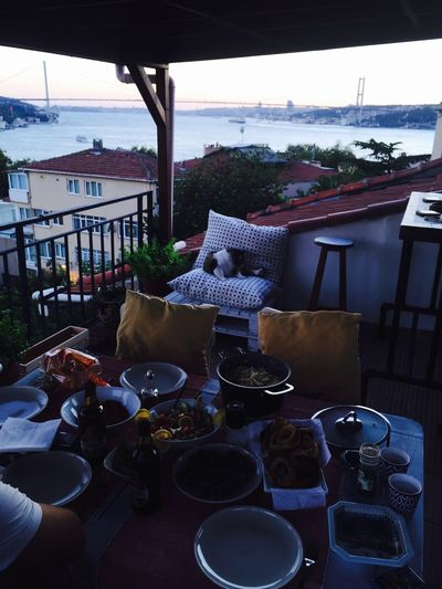Cat Chair No People Food Balcony Bridge Bhosporus Table High Angle View Built Structure Large Group Of Objects Building Exterior Day Outdoors Drink Architecture