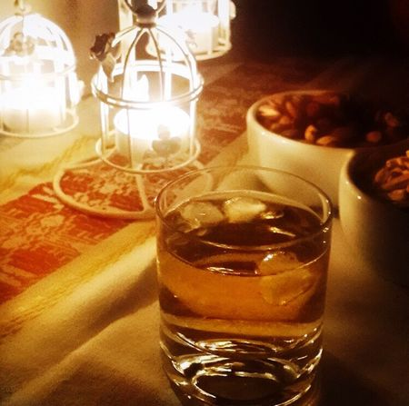 Candles Whiskey Peanuts Drink Refreshment Indoors  Drinking Glass Close-up Table No People