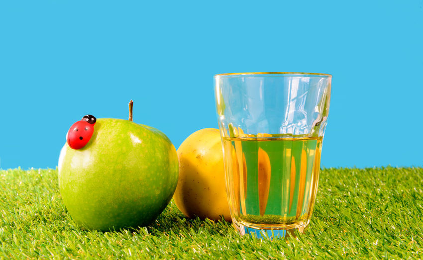 Blue Clear Sky Close-up Day Drink Drinking Glass Food Food And Drink Freshness Fruit Granny Smith Apple Grass Green Color Healthy Eating Nature No People Outdoors Refreshment Sky Summer Sunlight Water