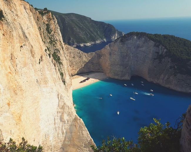 Zante Zakhyntos Shipwreck Bay Water Sea Beach Aerial View Sand High Angle View Mountain Sky Landscape