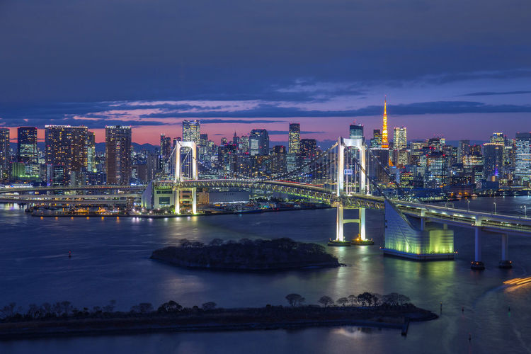 Rainbow Bridge tokyo Architecture Bay Bridge Bridge - Man Made Structure Building Building Exterior Built Structure City Cityscape Cloud - Sky Connection Illuminated Modern Nature Night No People Office Building Exterior Outdoors River Sky Skyscraper Transportation Water