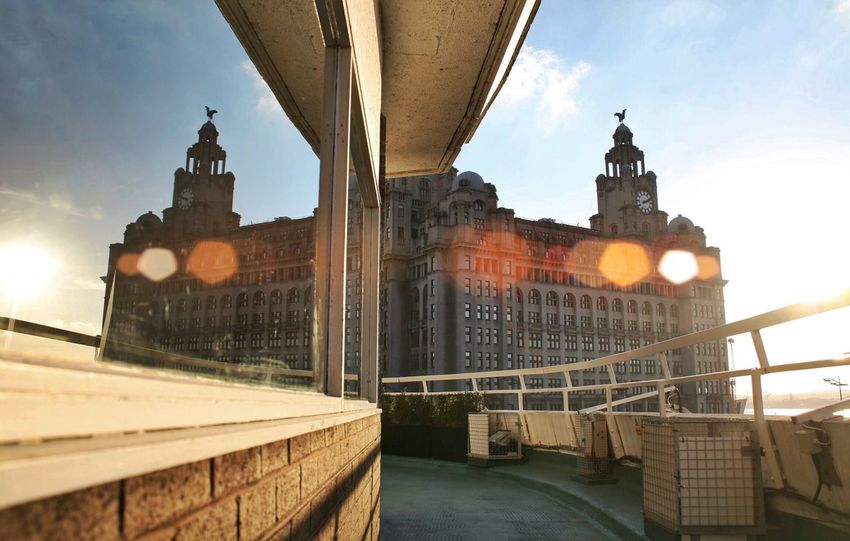 Liverpool Liverpool, England Liverpool Waterfront Liver Building Liverpool Docks Window Reflections Architectural Feature Liver Birds Flarelight Leading Lines Sun Spots Orbs City Life City Liverpool One Merseyside First Eyeem Photo
