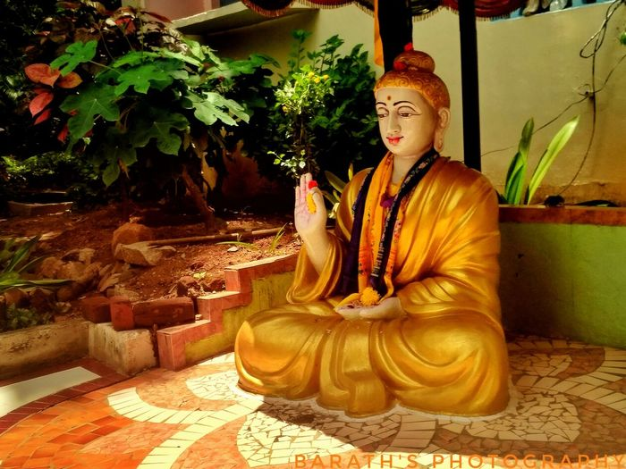 """""""the way is not in the sky.The way is in the heart""""- BUDDHA Buddha Buddhism Buddhist Temple Cybershot Sony Randomshot Catching Attention Shot On Mi A1 Religion Spirituality Statue Indoors  Sculpture Adult People One Person Young Adult Day Inner Power"""