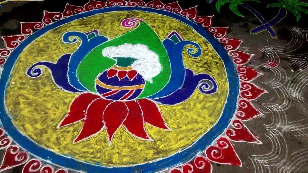 Village Life TeluguRoots SankrantiSpecial Art And Craft Pattern MyFamily Love Them Always. Handmade Nature On Your Doorstep