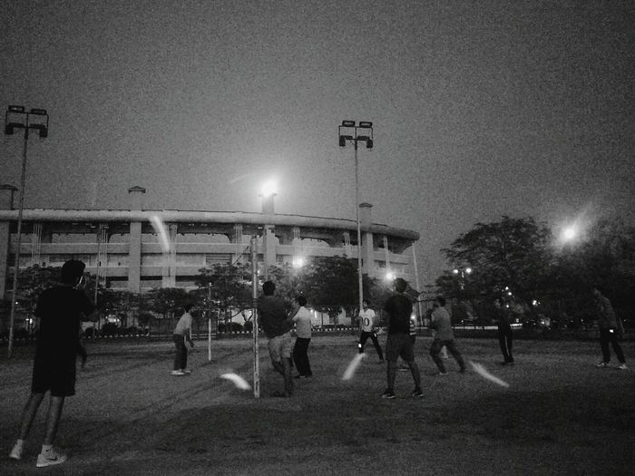 Illuminated Night Lighting Equipment Large Group Of People Sky Outdoors Volleyball❤ Nightphotography Night Lights Nightsky Outdoor Games Friends ❤